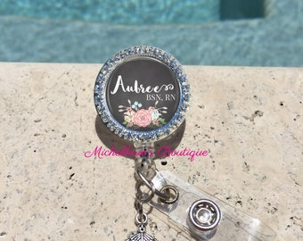 Retractable Badge Holder,Personalized Badge Reel,Bling Badge Reel,Badge Holder,Nurse,Pharmacy,RX,RN BSN, Floral Chalkboard, MB300