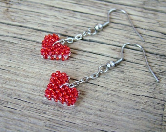 Valentines earrings Red heart Tiny beaded earrings Valentines gift for girl Love Heart shaped Minimalist little earrings Be my Valentine