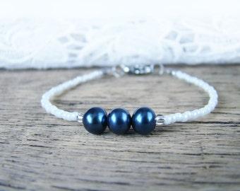 Beauty gift Blue pearls bridal bracelet Thin bead bracelet White blue bracelet Bridesmaid gift Seed bead jewelry Gentle Layering Dainty