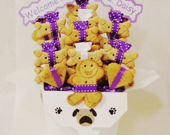 New Puppy treat gift basket - dog biscuits - dog gift basket - dog treats - all natural dog treats- welcome home -new dog gift-personalized