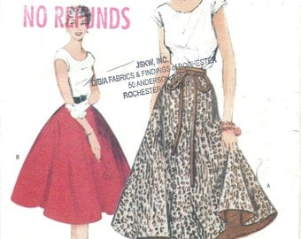 50s Re-Issue Butterick 6176 Misses Top and Skirt Sewing Pattern UNCUT