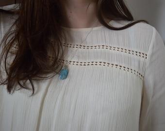 Boho Blue Gemstone Wire Wrapped Handmade Necklace