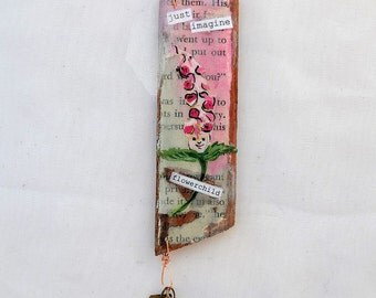 just imagine flower child mini mixed media collage on wood