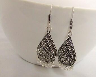 Oxidized Metal Drop Ethnic Tribal Chandelier Earrings