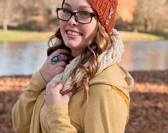 Vintage Style Cloche Hat - Custom Cloche Hat With Buttons - Vintage Style Clothing - Crochet Flapper Hat - 1920s Cloche Hat - Orange Hat