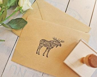 "Rustic Moose Return Address Stamp - Woodsy Lumberjack Stamp - Country Wedding Return Address Rubber Stamp - Woodland Animal Stamp - 3"" x 2"""