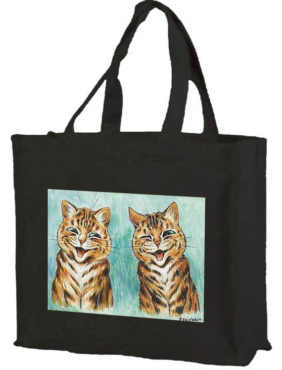 Louis Wain Laughing Cats Cotton Shopping Bag with gusset and long handles, 3 colour options