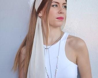 Ivory Headband, Ivory Hair Scarf, Workout Head Scarfs, Hair Covering, Long Hair Accessory, Headscarfs, Retro Head Scarf, Fashion Headband