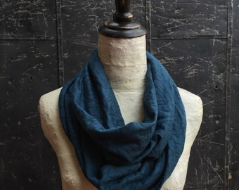 Dark Teal Boho Chic Floral Infinity Scarf - Burnout Jersey Knit
