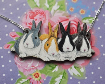 Bunny Quad Necklace (Dutch) - Illustrated Wooden Jewellery.