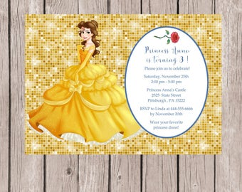 Belle Invitation, Beauty and the Beast Invitation, Belle Invites, Princess Birthday Party,  Beauty and the Beast Party, Princess Invitation