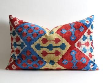 velvet pillow, handwoven pillow, ikat, ikat pillow, velvet, throw pillow, pillow cover, accent pillow, velvet ikat pillow, ikat pillows