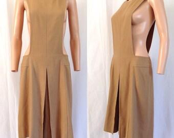 1960's Drop-waist Camel Colored Wool Jumper I. Magnin Sz. M
