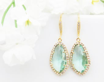 Gift for Wife, Bridesmaids Gift, Crystal Earrings, Aquamarine Earrings, Aquamarine Jewelry, Christmas Gift, March Birthstone, Gift for Mom