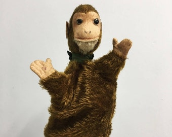 Vintage mohair monkey puppet - cute straw filled animal hand puppet, fuzzy, collectible children's toys,  like Steiff, midcentury