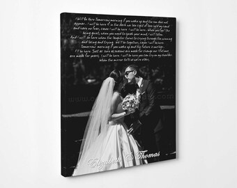 Wedding Canvas Gift, Vows to Cotton Canvas, First Dance Lyrics, Personalized Gift for Her/Him, His/Hers Vows to Canvas, Picture to Canvas.