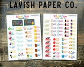 School Time Kit Planner Stickers by Lavish Paper Co. for Erin Condren, inkWELL Press, Plum Paper, Happy Planner and more!