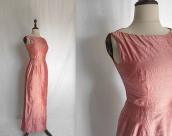 1960s rose raw silk gown