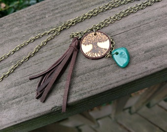 Wood-burned tree,  leather tassel,  green agate stone, bronze necklace