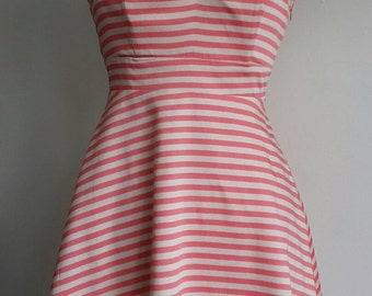 Vintage Sun Dress / Candy Stripe Sun Dress / Coral and Cream Stripe / Adjustable and Removable Straps / Size Small