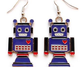 enamel robot earings blue