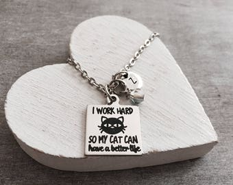Crazy Cat Lady, Cat Charm Necklace, Cat Lover, Cat Jewelry, Cat Gift, Cat Rescue, Cat adoption, Silver Necklace, Charm Necklace, Cat Mom