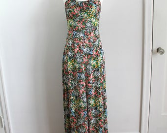 Vintage 70s floral maxi dress with adjustable straps, small