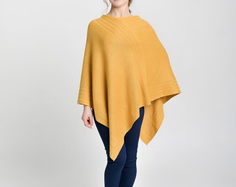 Poncho, women's top, mustard cashmere poncho, knit poncho, mustard yellow top, camel poncho, cashmere cape, knit cape, wool cape, plus size
