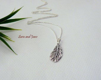 Feather Necklace - Long Necklace - Feather Necklace - Long Sterling Silver 925 chain - wife - sister - friend gift