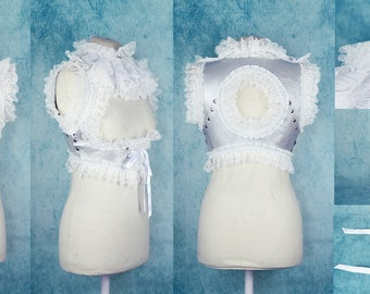 Victorian Vest, Neck Ruffle, Pouch and Cuffs