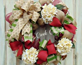 24 inch Deco Mesh | Hydrangea Wreath | Burgundy and Green.