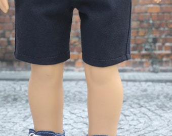 American BOY Doll Clothes | Navy Blue Slant Pocket Woven SHORTS for 18 inch doll
