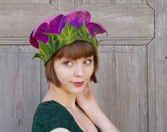 Felted floral hat, purple bell flower, unique fairy hat, festive elvish hat, unusual designer hat, artistic headgear, bohemian style, OOAK