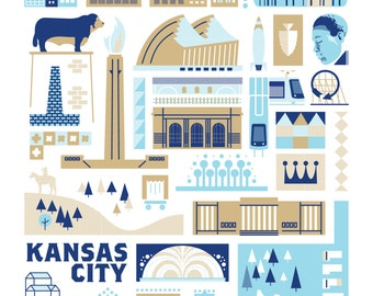 KC Landmark Screen print (Blue and Gold Edition)
