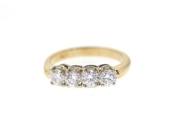 Vintage Inspired Diamond Wedding Band, Two Tone Gold Anniversary Band, Mid Century Anniversary Ring