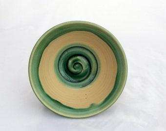 Bowl, Ceramic Cereal Bowl, Soup Bowl, Medium Sized Ceramic Bowl, Cream, Green, Black, Swirl Design, Stoneware