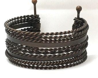 Multi-Row Wire Cuff Bracelet, 10 Row Cuff Bracelet, Tarnished Metal Open Cuff Bracelet, Metal Bangles, Hammered Metal Bangle
