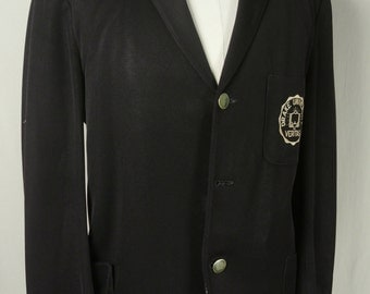 1950's Drake University Ostwald Solid Black 100% Wool Three Button Sport Coat Men's Size: 42S