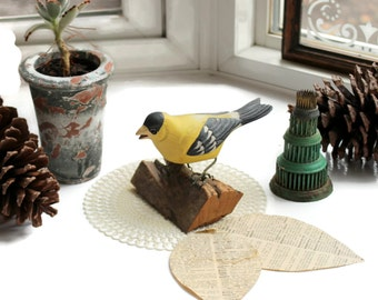 Handcrafted Yellow Finch on Wood Stump Stand, Woodland Nature Handpainted Bird, Unsigned