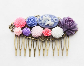 Butterfly Roses Hair Clip, Purple Rose Hair Piece, Purple, Pink, and Blue Hair Comb, Wedding Hair Piece, Something Blue Pink White Purple