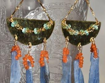 Gypsy Earrings Brass Kyanite Carnelian Apatite Dangle BOHO
