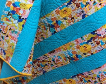 Baby quilt, gender neutral, crib quilt, modern baby quilts, Fairy tale quilt, yellow blue.