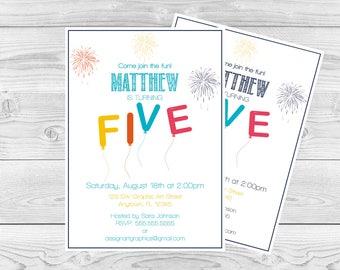 Five Birthday Balloon Invitation Template, Fireworks Balloon Printable Invitation, Editable PDF Template, 5th Birthday Invite, DIY You Print