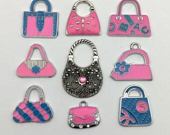 9 handbag charms enamel and silver tone / 15mm to 33mm #ENSA 145