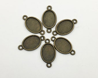 6 base setting pendant for 8mm x 11mm cabochon #FIN 040