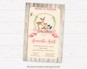 Woodland Baby Shower Invitation, Rustic, Whimsical, Girl DIGITAL FILE