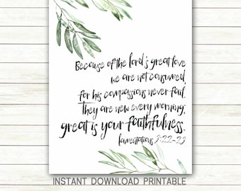 Great is your faithfulness boho scripture printable Lamentations 3:22-23 compassions never fail bible verse art olive leaf instant download