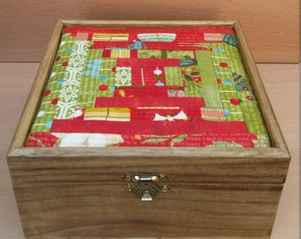 Solid wood box with red/green fabric lined