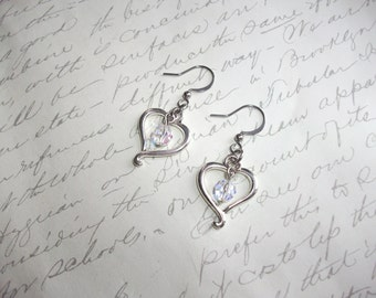 Silver heart earrings with crystals