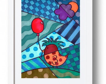 Print- Ernesto with Balloon- Bird with Balloon